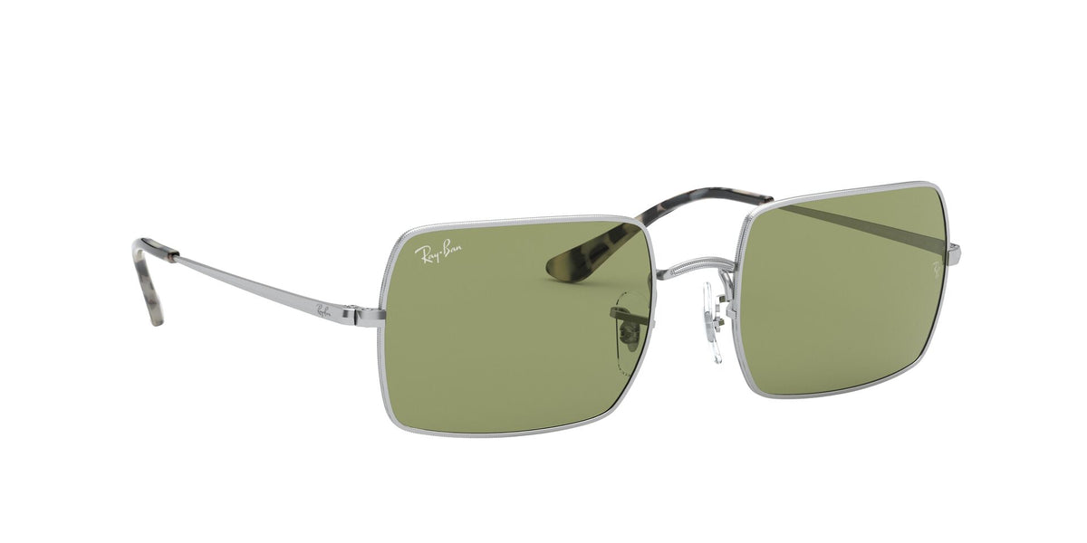 Ray Ban - Rectangle 1969 Silver/Bottle Green Rectangle Unisex Sunglasses - 54mm