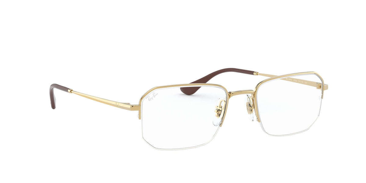 Ray Ban Rx - RX6449 Gold/Clear Semi Rimless Unisex Eyeglasses - 51mm