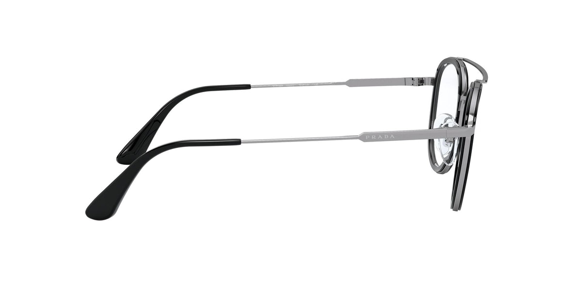 Prada - PR66XV Black Gunmetal/Clear Round Men Eyeglasses - 49mm