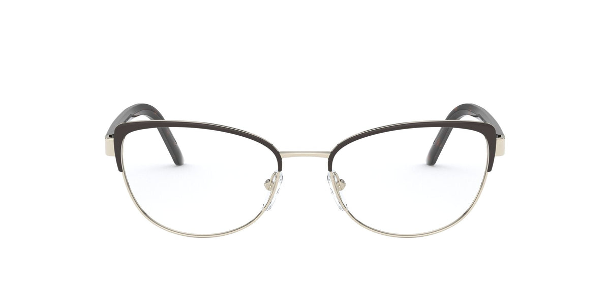 Prada - PR63XV Brown Light Gold/Clear Cat Eye Women Eyeglasses - 53mm