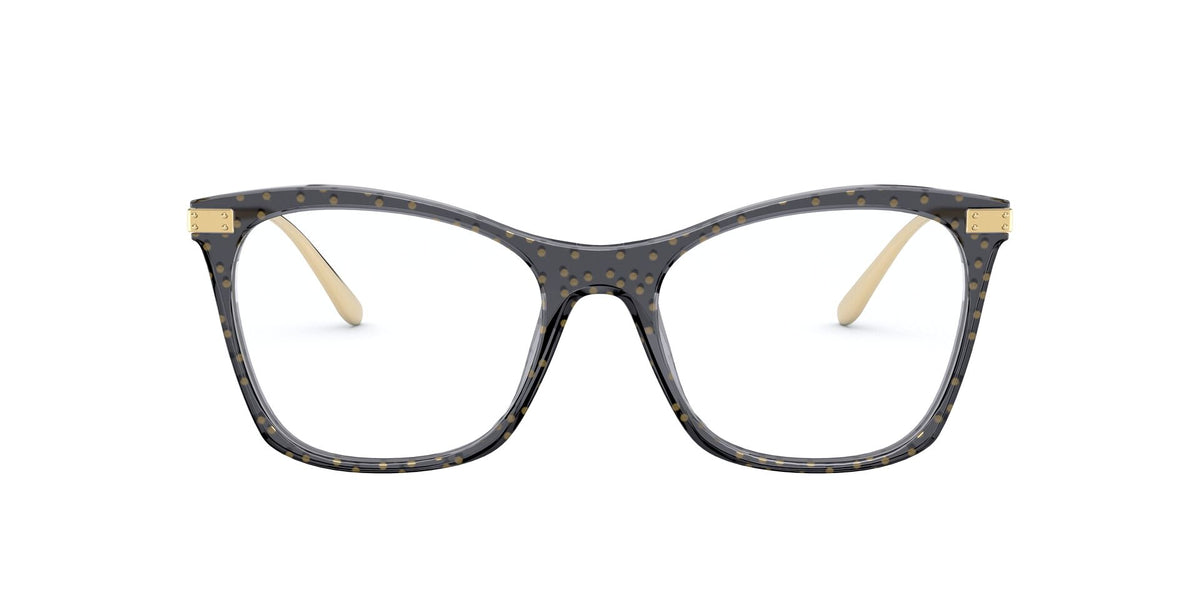 Dolce Gabbana - DG3331 Transparent Black/Clear Square Women Eyeglasses - 54mm