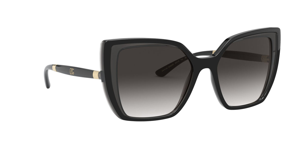 Dolce Gabbana - DG6138 Black On Transparent Grey/Grey Gradient Butterfly Women Sunglasses - 55mm