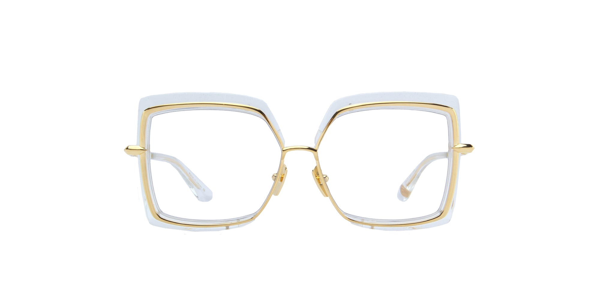 Dita - Narcissus Crystal Clear- Yellow Gold/Clear Square Photochromic Unisex Sunglasses - 58mm