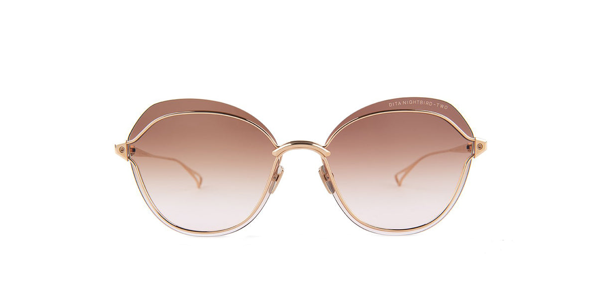 Dita - Nightbird-Two Gold Round Women Sunglasses - 58mm