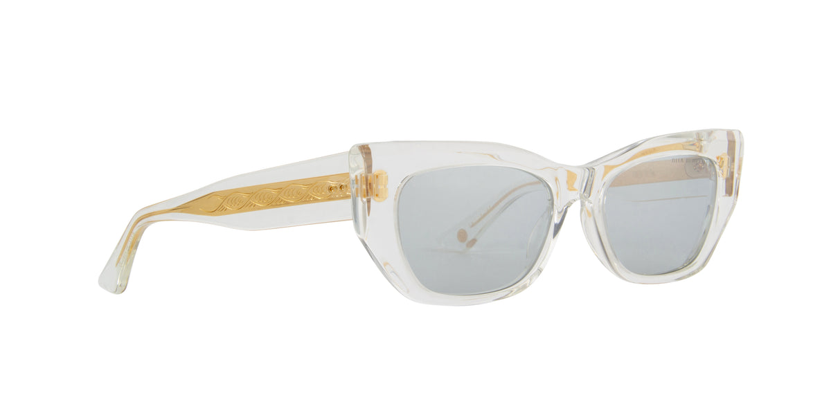 Dita - Redeemer Crystal Clear/Silver Flash Cat Eye Women Sunglasses - 54mm