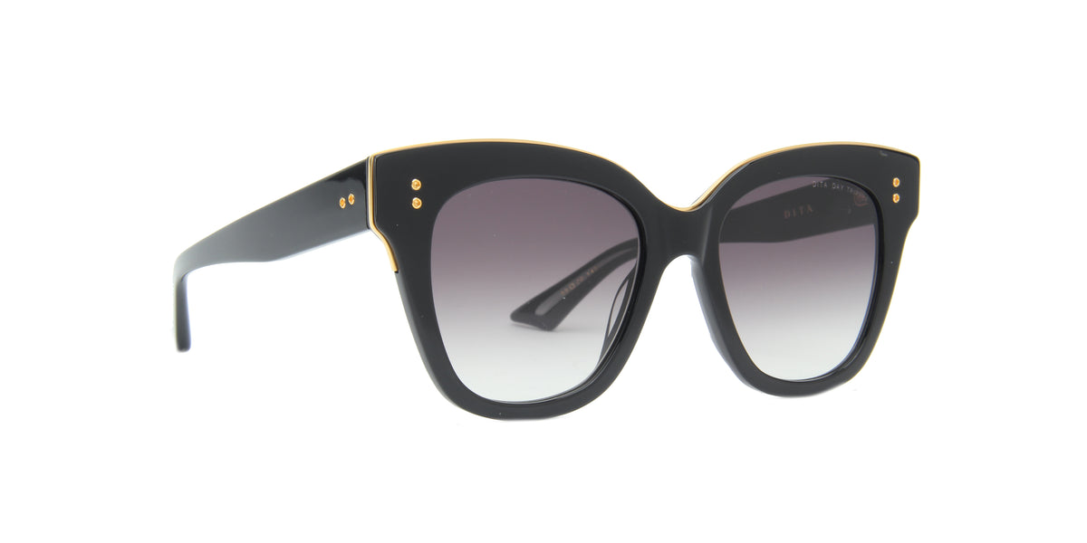 Dita - Day Tripper Black-Yellow Gold/Grey Gradient Cat Eye Women Sunglasses - 55mm