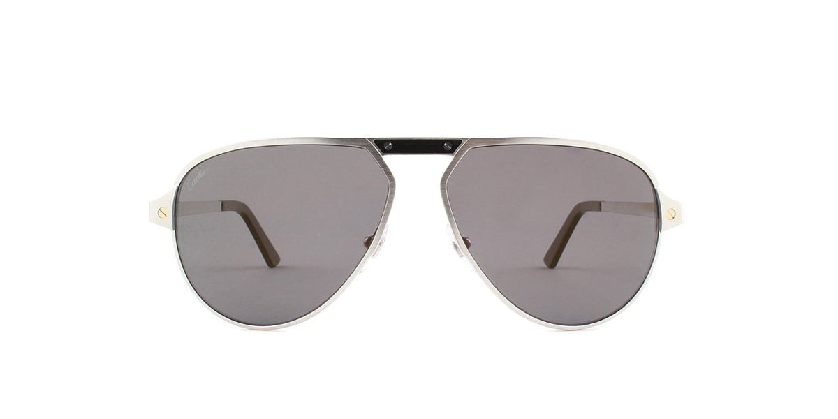 Cartier - CT0101S Silver Aviator Men Sunglasses - 60mm