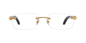 Cartier - CT0046O Gold White Rimless Unisex Eyeglasses - 53mm