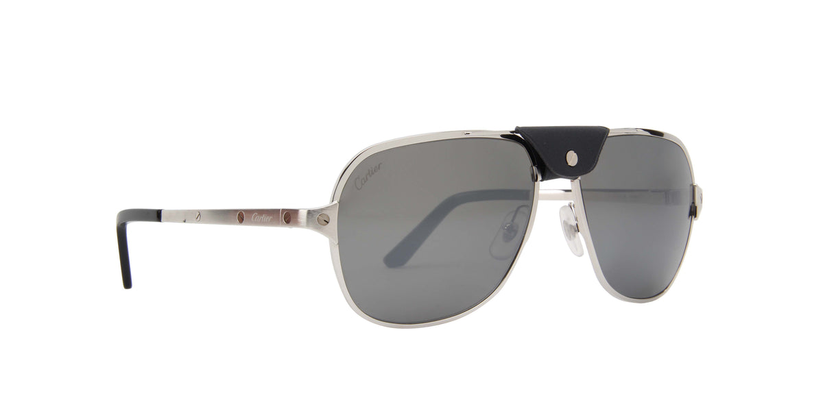 Cartier - CT0165S Silver/Grey Polarized Aviator Men Sunglasses - 60mm