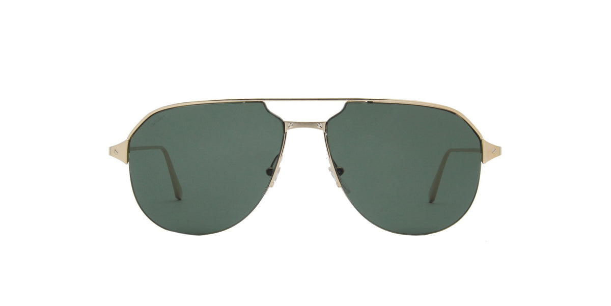 Cartier - CT0229S Gold/Green Aviator Men Sunglasses - 60mm