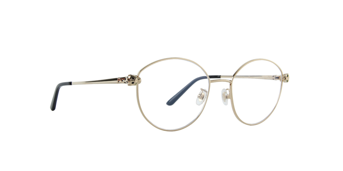 Cartier - CT0234O Gold/Clear Oval Women Eyeglasses - 54mm