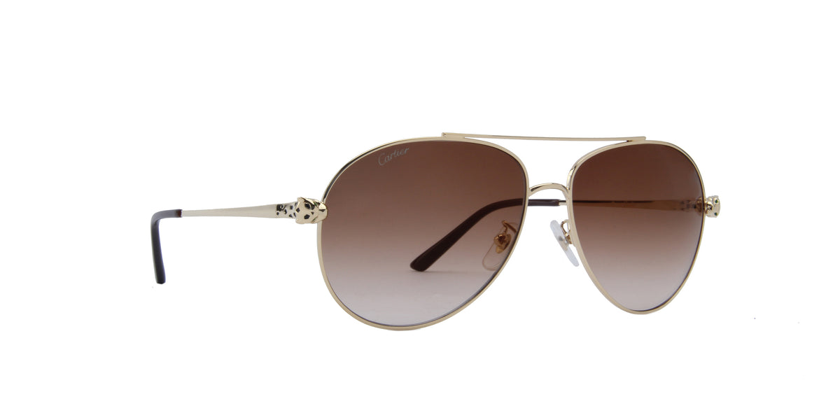 Cartier - CT0233S Gold/Brown Gradient Aviator Women Sunglasses - 61mm