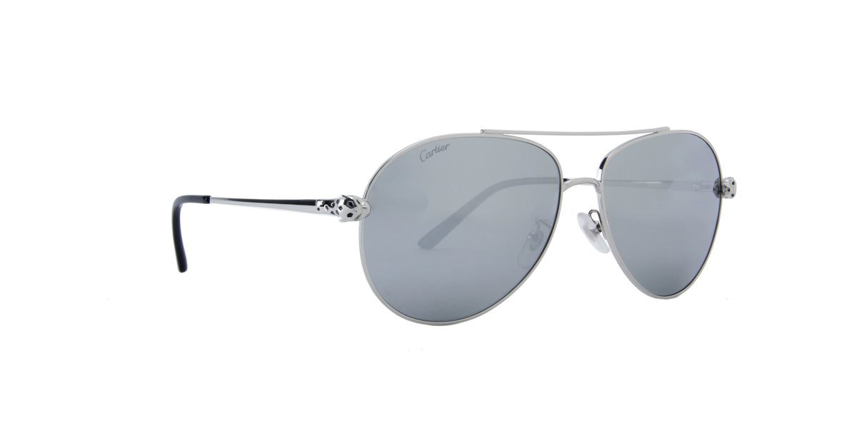 Cartier - CT0233S Silver/Grey Aviator Women Sunglasses - 61mm