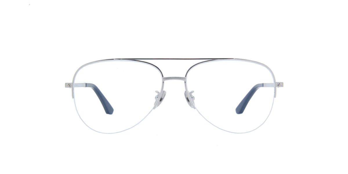 Cartier - CT0256O Silver Aviator Men Eyeglasses- 58mm