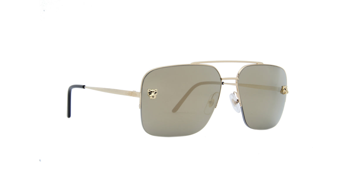 Cartier - CT0244S Gold Grey/Grey Navigator Men Sunglasses- 59mm