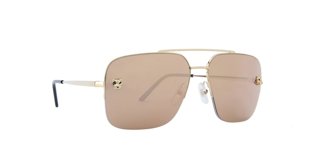 Cartier - CT0244S Gold/Gold Navigator Men Sunglasses - 59mm