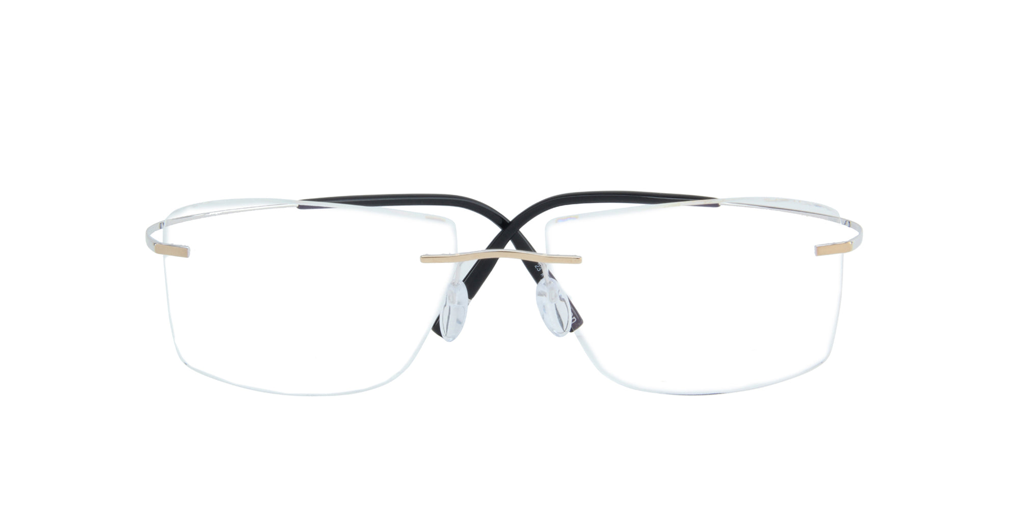 Silhouette - 5539 Rhodium Elegant Gold Rimless Rectangle Unisex Eyeglasses - 56mm