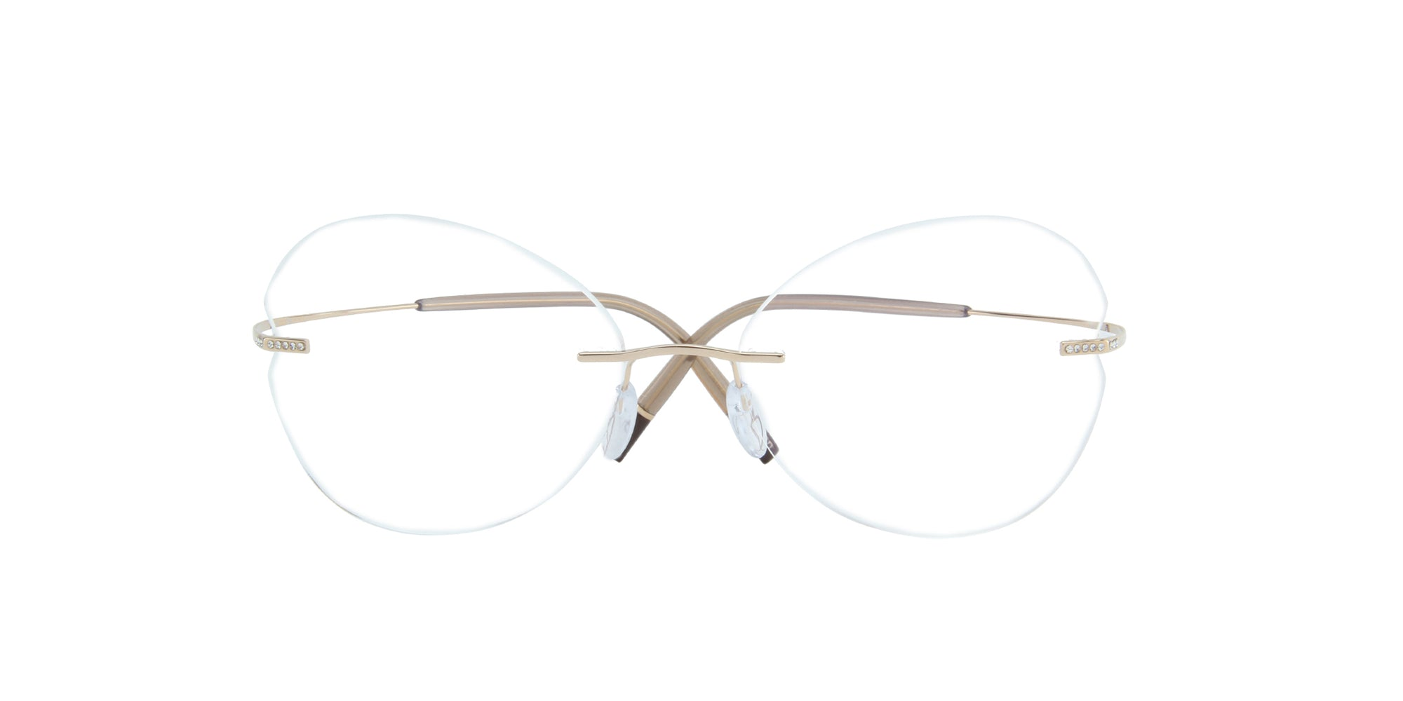 Silhouette - 5538 Crystal Gold Rimless Butterfly Unisex Eyeglasses - 54mm