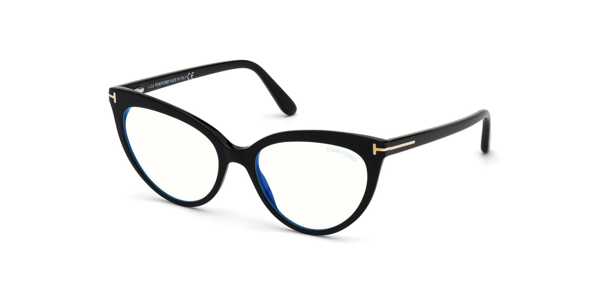 Tom Ford - FT5674-B Shiny Black/Clear Cat Eye Women Eyeglasses - 54mm
