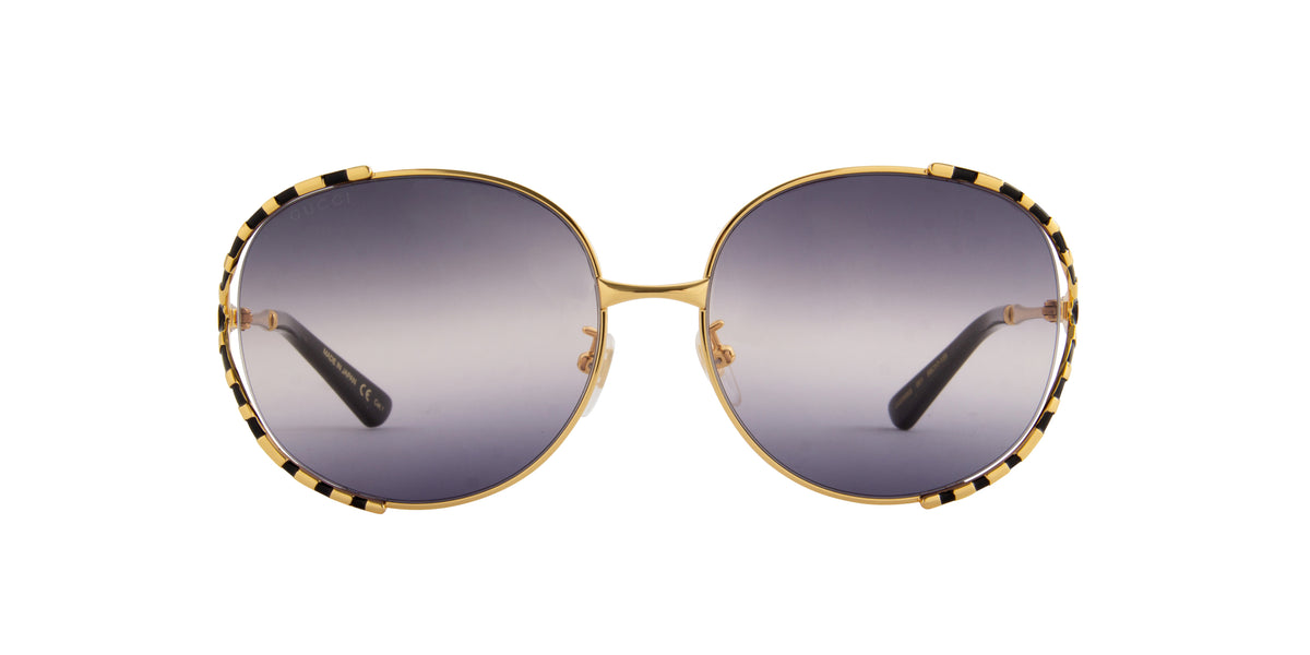 Gucci - GG0595S Gold/Grey Oval Women Sunglasses - 59mm