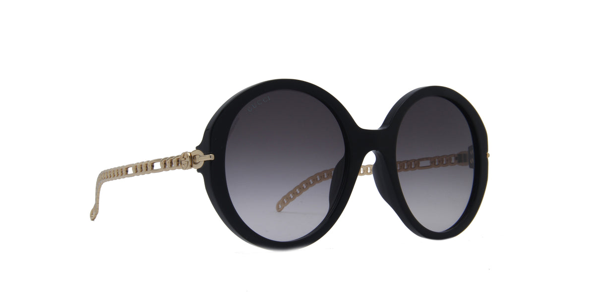 Gucci - GG0726S Black/Grey Round Women Sunglasses - 56mm