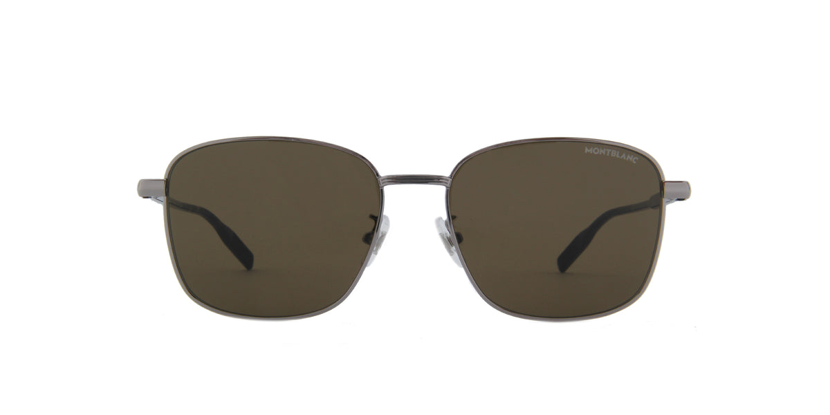 Montblanc-MB0137SK Shiny Light Ruthenium/Solid Brown Square Men Sunglasses-58mm