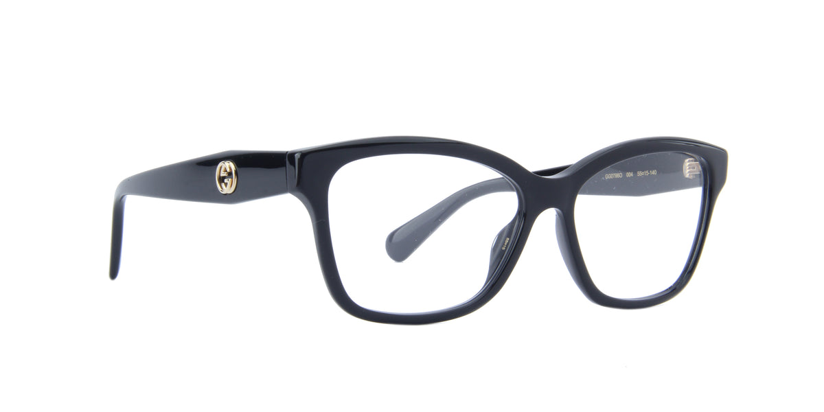 Gucci - GG0798O Shiny Solid Black Square Women Eyeglasses - 55mm