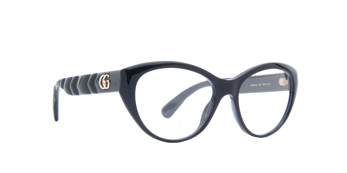 Gucci - GG0812O Shiny Solid Black Round Women Eyeglasses - 54mm
