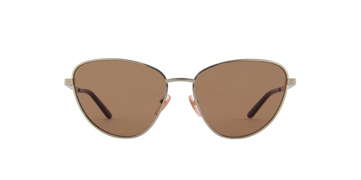 Gucci-GG0803S Shiny Endura Gold/Solid Brown Cat Eye Women Sunglasses-58mm