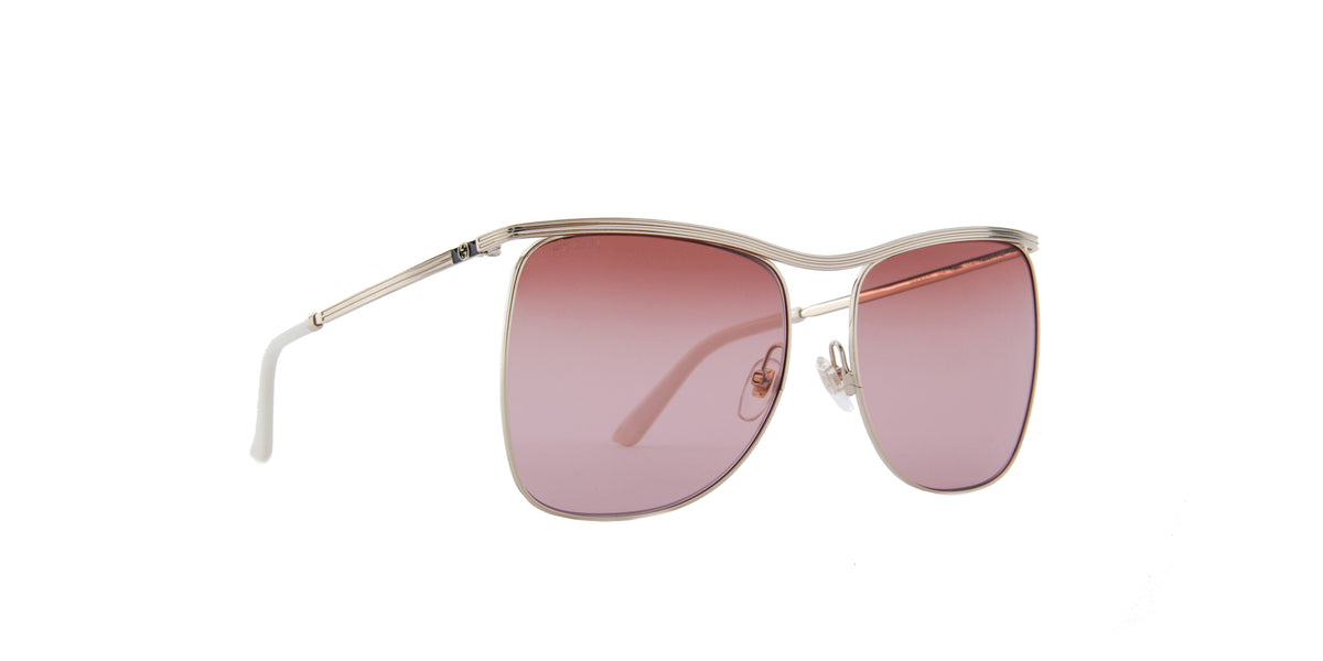 Gucci-GG0820S Shiny Endura Gold/Double Gradient Burgundy-Red Square Women Sunglasses-63mm