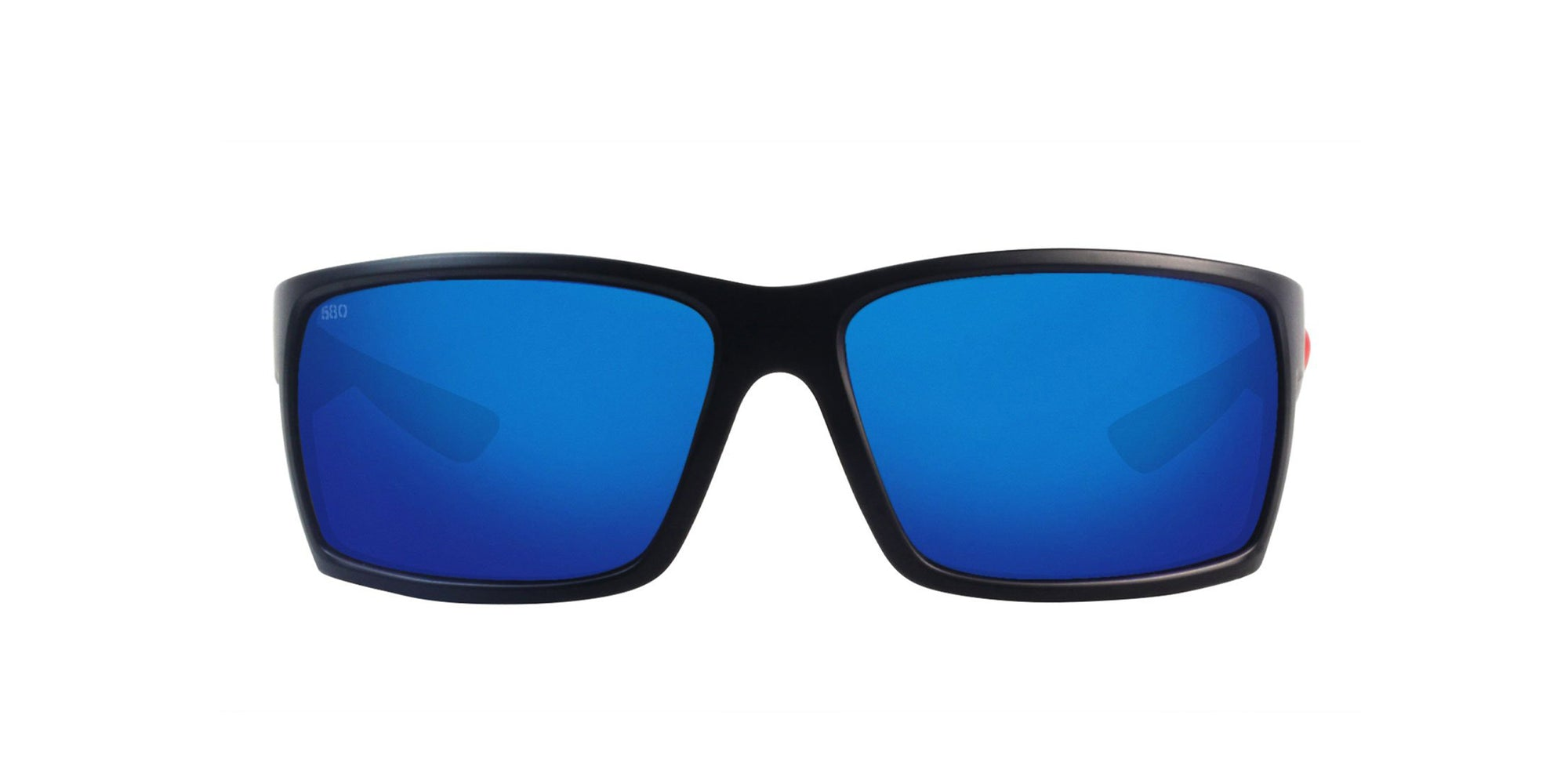Costa Del Mar - Reefton Black/Blue Mirror Polarized Rectangular Unisex Sunglasses