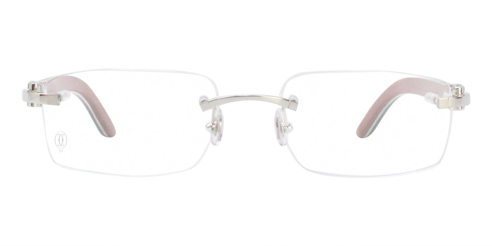 Cartier - C Decor Blue Silver Rimless Unisex Eyeglasses - 53mm-Eyeglasses-Designer Eyes