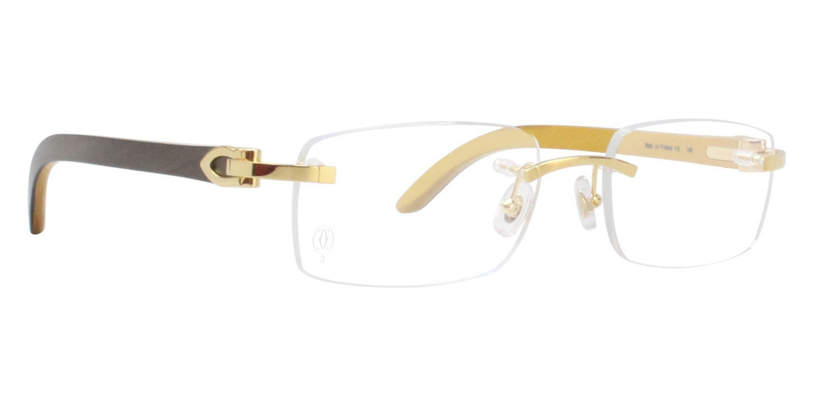 Cartier - C Decor Brown Gold Rimless Unisex Eyeglasses - 53mm-Eyeglasses-Designer Eyes