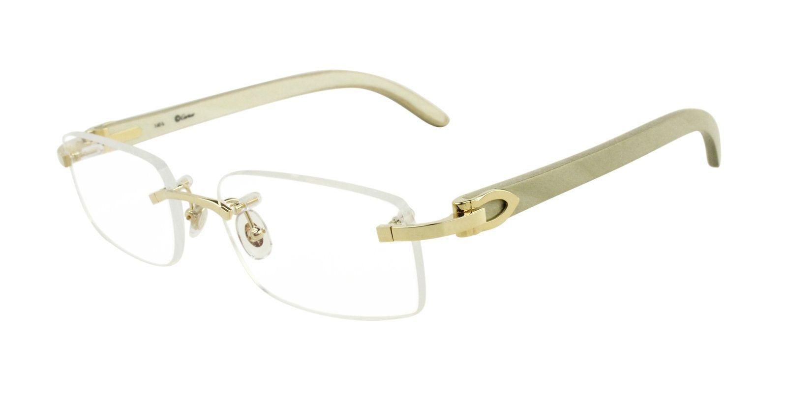 Cartier - C Decor Gold Rimless Unisex Eyeglasses - 53mm-Eyeglasses-Designer Eyes