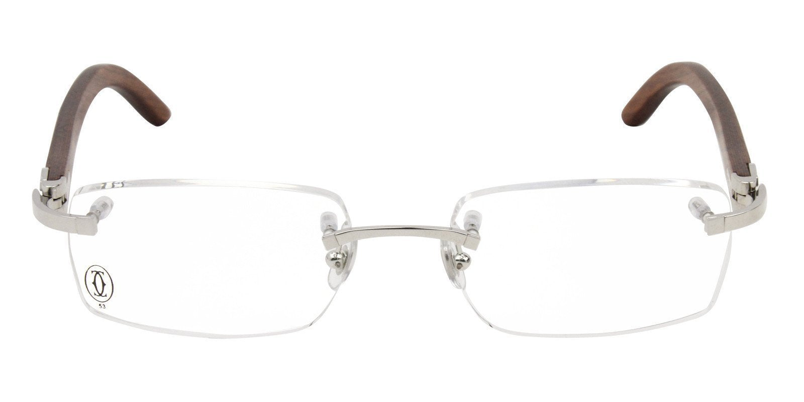 Cartier - C Decor Silver Rimless Men Eyeglasses - 53mm-Eyeglasses-Designer Eyes