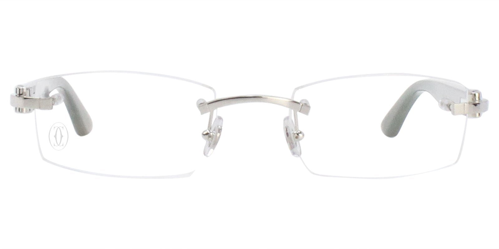 Cartier - C Decor Silver Rimless Unisex Eyeglasses - 51mm-Eyeglasses-Designer Eyes