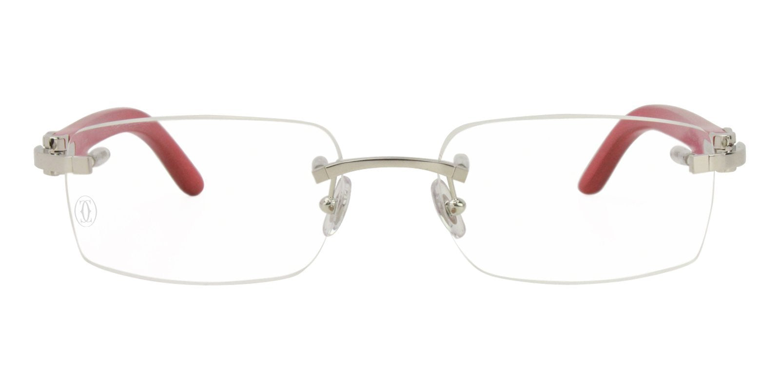 Cartier - C Decor Silver Rimless Unisex Eyeglasses - 53mm-Eyeglasses-Designer Eyes