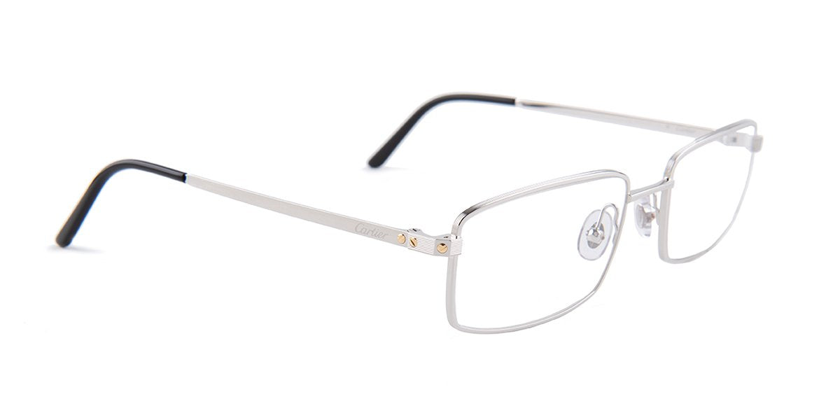 Cartier - T00850 Silver Square Unisex Eyeglasses - 54mm-Eyeglasses-Designer Eyes