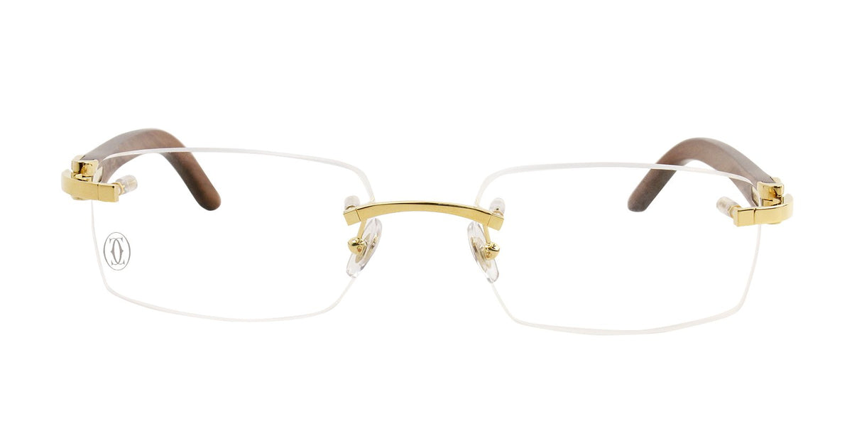 Cartier - T8100907 Gold Rimless Men Eyeglasses - 53mm-Eyeglasses-Designer Eyes
