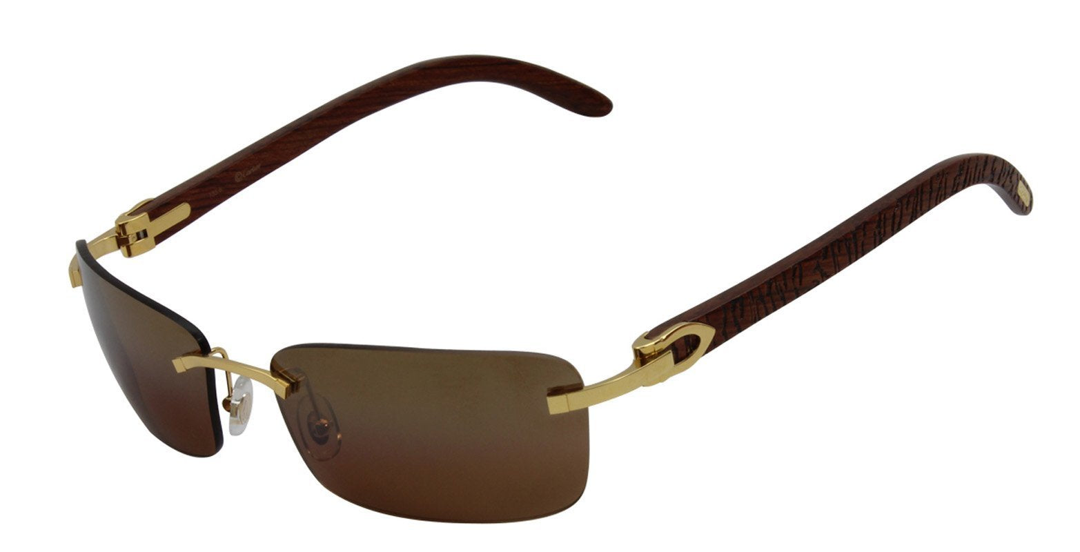 Cartier - C Decor Gold Rimless Men Sunglasses - 58mm-Sunglasses-Designer Eyes