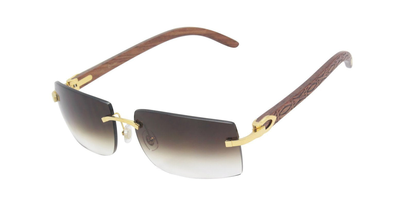 Cartier - C Decor Gold Rimless Unisex Sunglasses - 56mm-Sunglasses-Designer Eyes