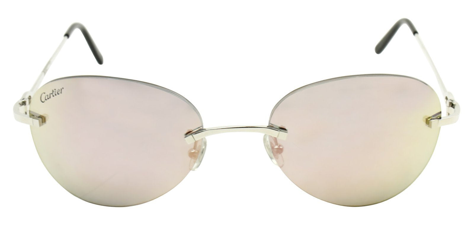 Cartier - C Decor Silver Oval Unisex Sunglasses - 57mm-Sunglasses-Designer Eyes