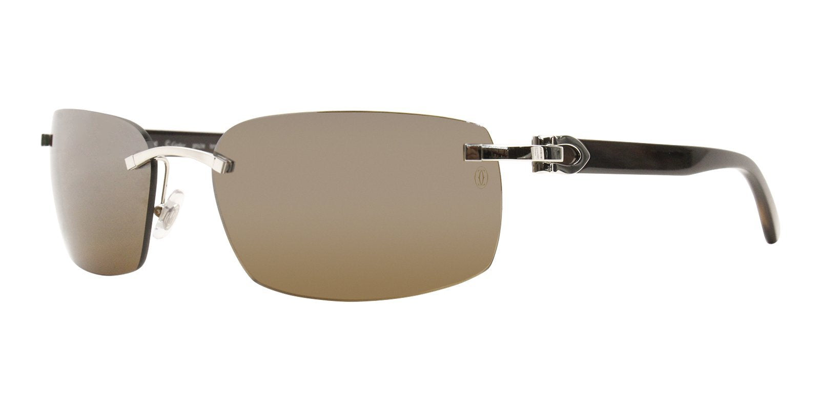 Cartier - C Decor Silver Rimless Men Sunglasses - 60mm-Sunglasses-Designer Eyes