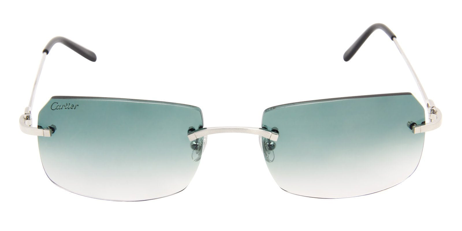 Cartier - C Decor Silver Rimless Women Sunglasses - 57mm-Sunglasses-Designer Eyes