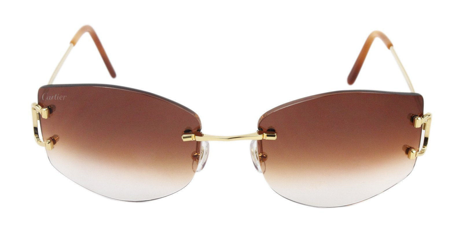 Cartier - Classic C Decor Gold Rimless Unisex Sunglasses - 55mm-Sunglasses-Designer Eyes