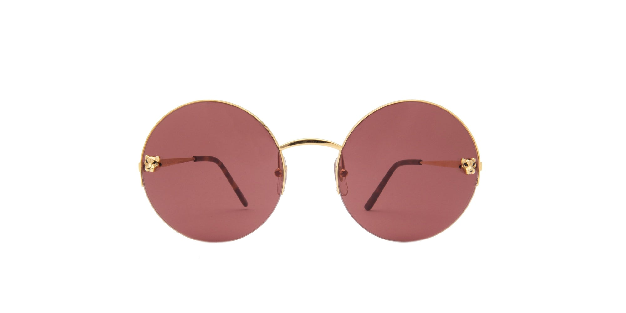 Cartier - CT0022S Gold/Burgundy Round Women Sunglasses - 58mm-Sunglasses-Designer Eyes