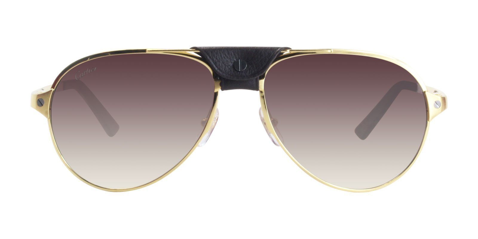 Cartier - CT0034S Shiny Or Pale - Brown Aviator Men Sunglasses - 59mm-Sunglasses-Designer Eyes
