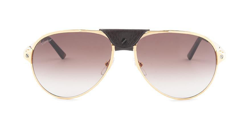 Cartier - CT0034S Shiny Or Pale/Brown Men Sunglasses - 61mm-Sunglasses-Designer Eyes