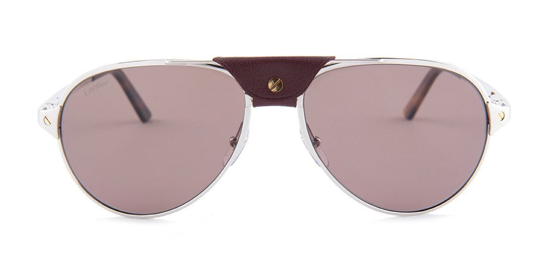 Cartier - CT0034S Shiny Platine - Burgundy Men Sunglasses - 59mm-Sunglasses-Designer Eyes