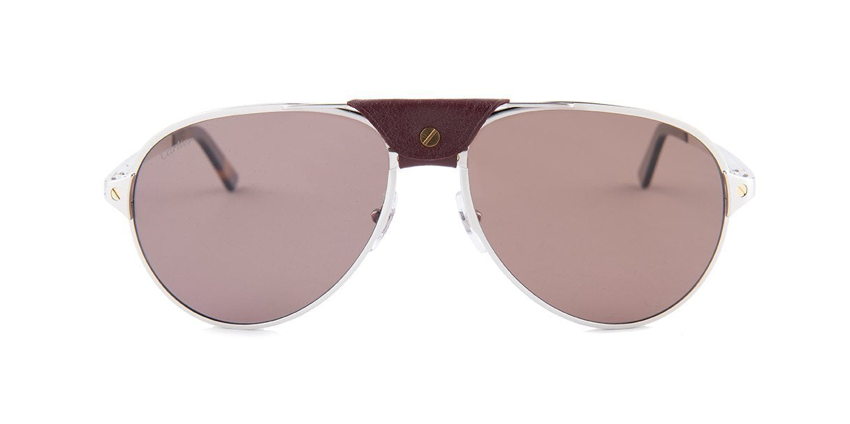 Cartier - CT0034S Shiny Platine/Burgundy Men Sunglasses - 61mm-Sunglasses-Designer Eyes